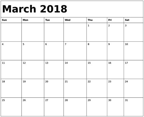 free march calendar template march 2018 calendar template free calendar template