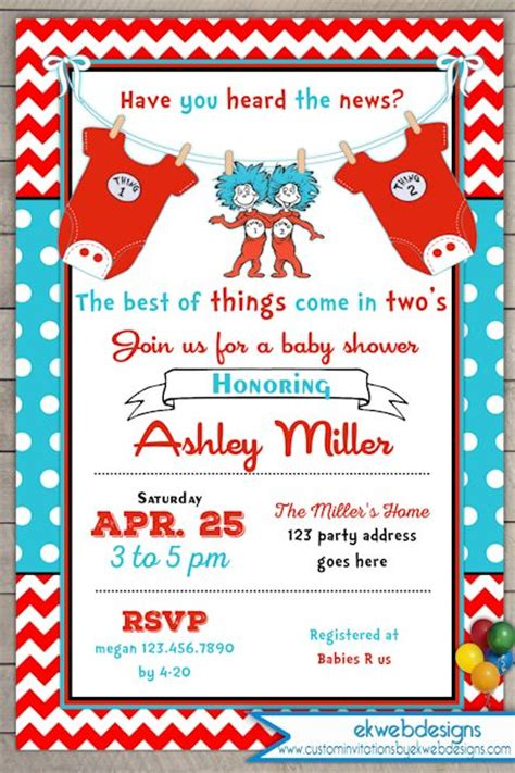 Thing 1 Thing 2 Baby Shower Supplies by Thing One Thing Two Baby Shower Invitation Baby