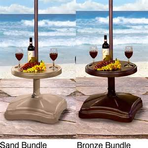 Patio Umbrella Stand Table Shademobile Rolling Umbrella Base With Table Shelf
