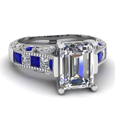 white gold emerald white engagement wedding ring