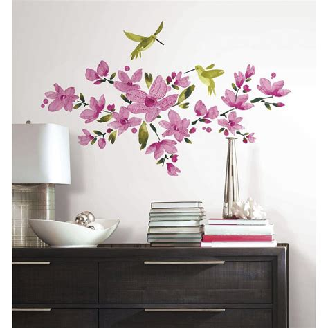 peel and stick wall decals roommates 5 in x 19 in pink flowering vine peel and