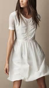 burberry brit gathered waist silk cotton dress in white lyst