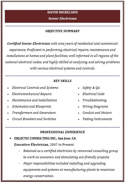 electrician resume best template collection