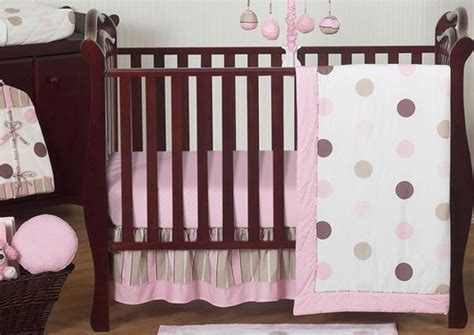 Pink And Brown Modern Polka Dot Baby Bedding 11pc Crib Pink And Brown Polka Dot Crib Bedding