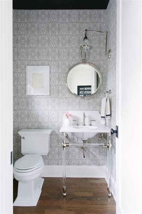 gray powder room  black ceiling transitional bathroom
