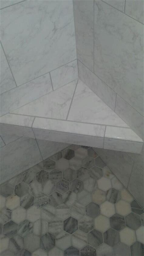 corner shower seat marble carrara marble shower pan and marble corner bench tile