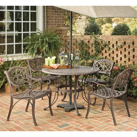 Metal Patio Dining Sets Shop Home Styles Biscayne 5 Brown Metal Frame Patio Dining Set At Lowes