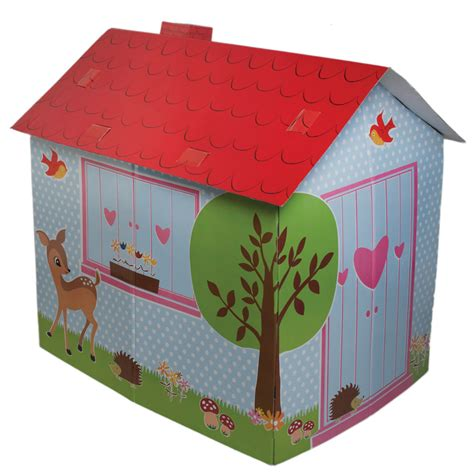 Cardboard Woodland Animals Playhouse Natural Collection Cardboard Cottage Playhouse