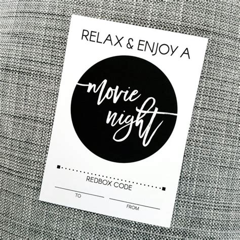 Printable Movie Gift Cards - printable enjoy a movie night redbox gift card holder for