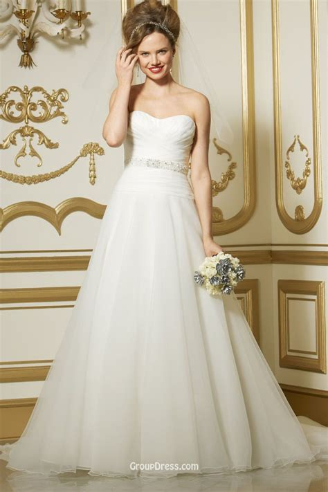 Wedding Dresses A Line by Strapless A Line Organza Bridal Gown With Removable Beaded