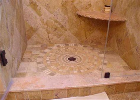 Dorado curb and seat. Shower floor custom medallion in