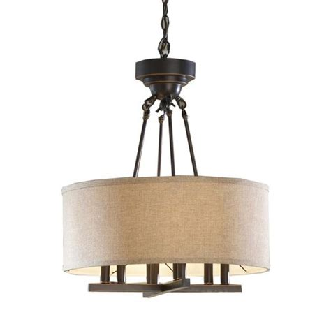 Allen And Roth Pendant Lighting Allen Roth 20 In W Rubbed Bronze Pendant Light With Fabric Shad