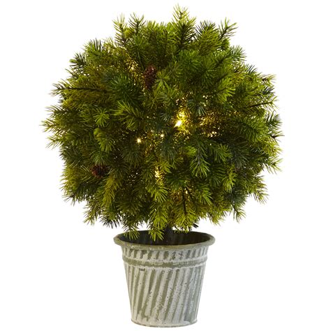battery lit artficial topiaries battery operated pine shaped led lighted artificial topiary w iron pot