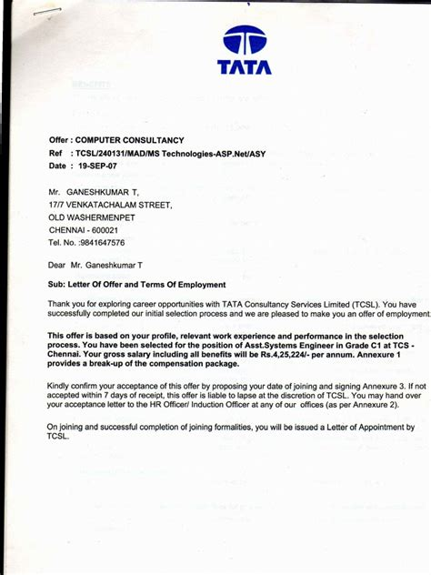 appointment letter of tcs tcs offer letter september 2007