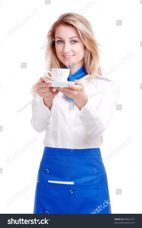 blue waitress waitress in white and blue uniform serving a cup of