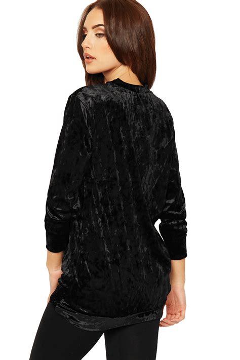 Basic Velvet Channel Best Seller womens sleeve velvet top plain crushed velour basic baggy jumper ebay