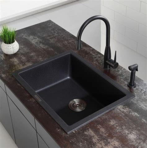 2 Sinks In Kitchen Kraus 24 2 5 Inch Dual Mount Single Bowl Black Onyx Granite Kitchen Sink Modern Kitchen