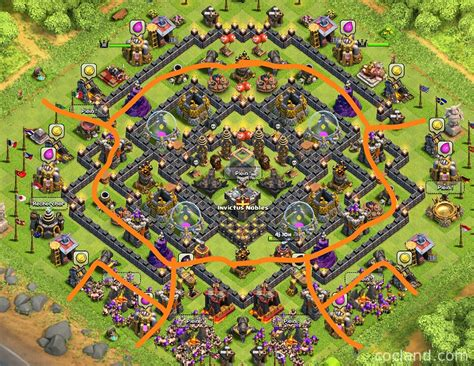 layout coc anti giant safe n sound base maximum de protection for town hall 9