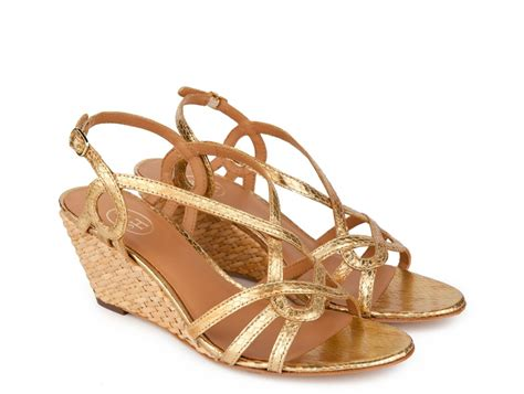 ash quot quot gold python print low wedge sandals fratelli