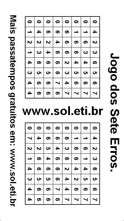 Jogo dos Sete Erros Para Imprimir: Numerais do Zero ao Sete.