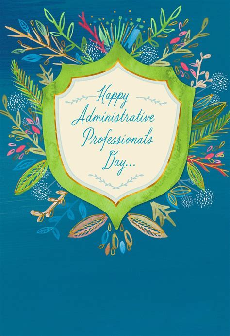 Flower Badge Admin Professionals Day Card   Greeting Cards
