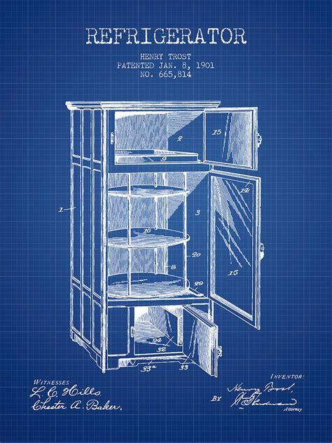 refrigerator patent   blueprint digital art  aged pixel