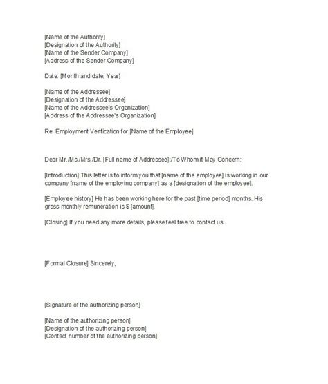 Employment History Letter For Mortgage 40 Proof Of Employment Letters Verification Forms Sles