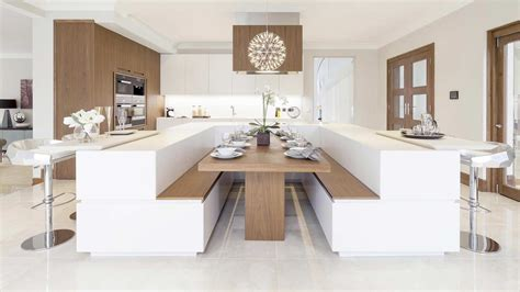 cucine con tavolo a isola cucina con isola centrale a u e arredi rifiniti in noce