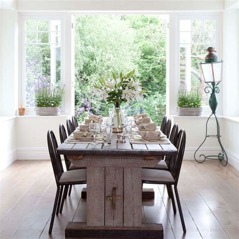 Small Vintage Dining Room Ideas White Dining Room With Rustic Table Vintage