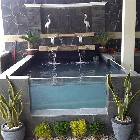 desain aquarium air tawar minimalis kolam ikan mini dari kaca taman depan rumah kolam ikan