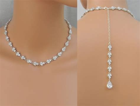braut collier back drop bridal necklace crystal backdrop necklace