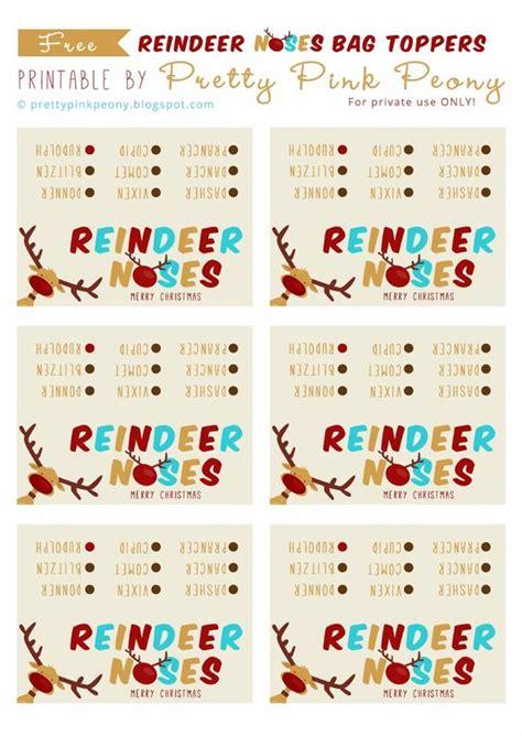 printable reindeer noses labels reindeer noses reindeer and bag toppers on pinterest