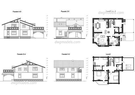 villa layout dwg villa chalet autocad drawings free dwg file download