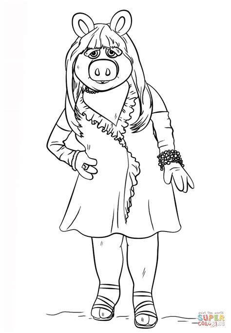 Miss Piggy From The Muppets Coloring Page Free Printable Miss Piggy Coloring Pages