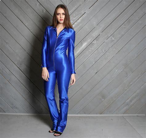 Jumsuit Spandek 1970s le gambi jumpsuit blue shiny spandex disco onesie xs