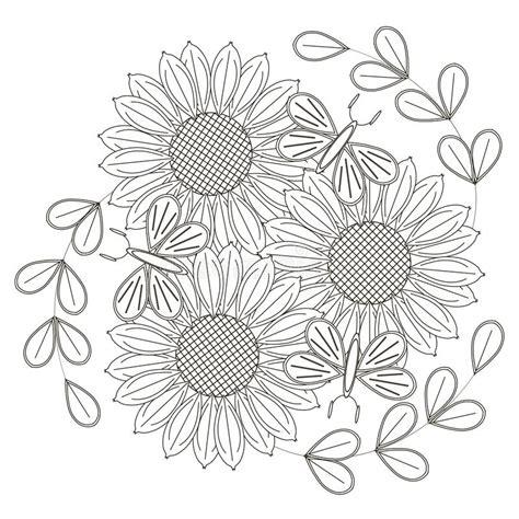 fiori stilizzati in bianco e nero schizzo in bianco e nero dei girasoli dei fiori
