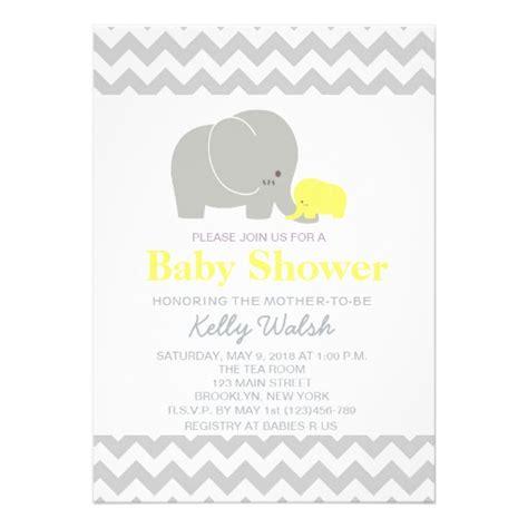 Elephant Baby Shower Invitations by Elephant Baby Shower Invitations Chevron 5 Quot X 7 Quot Invitation Card Zazzle