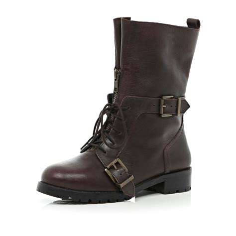 river island brown lace up biker boots in brown lyst