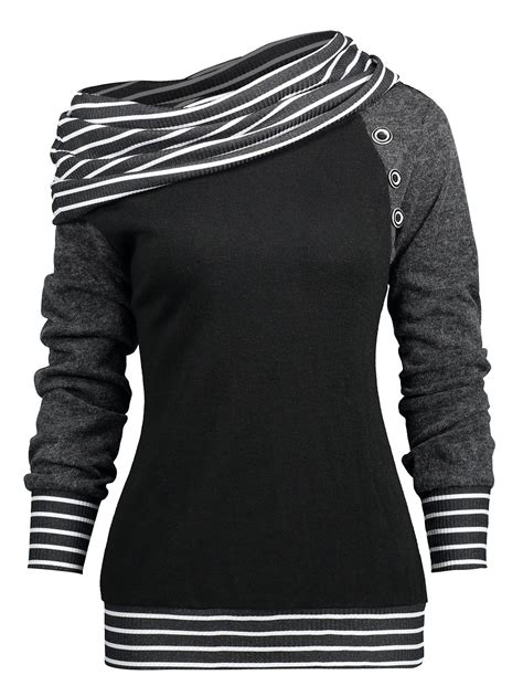 Sleeve Trim Shirt 2018 stripe trim raglan sleeve skew neck t shirt black m