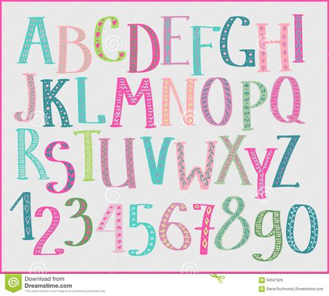 doodle kid free font doodle colorful font stock illustration image 60347926
