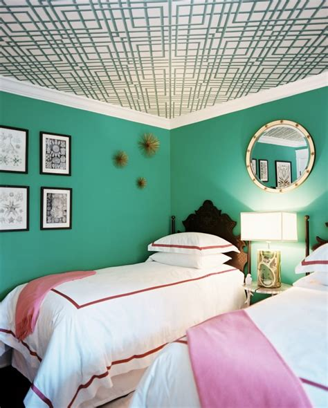 Green Ceilings by Gorgeous Space Bold Blue Green Walls Six Different Ways