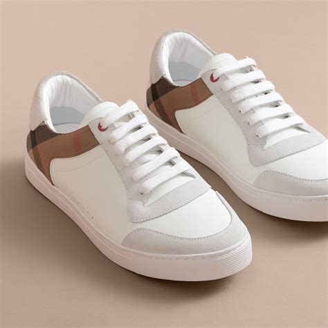 F368 E Burberry Shoes leather and house check sneakers in optic white burberry united states