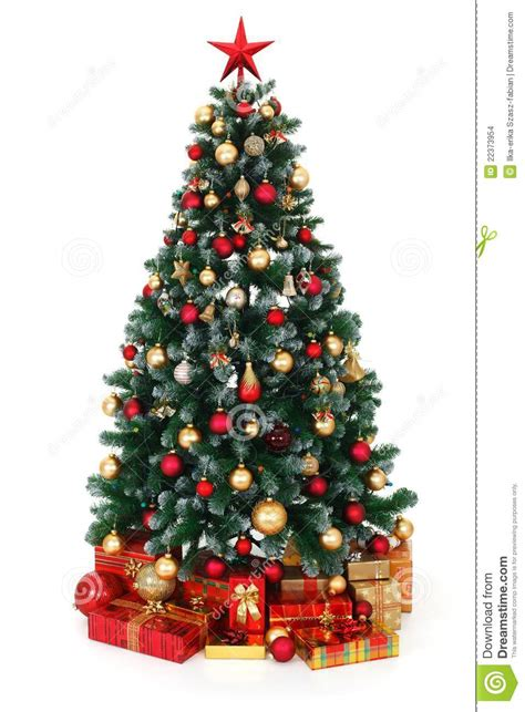green decorated christmas tree and presents stock photo