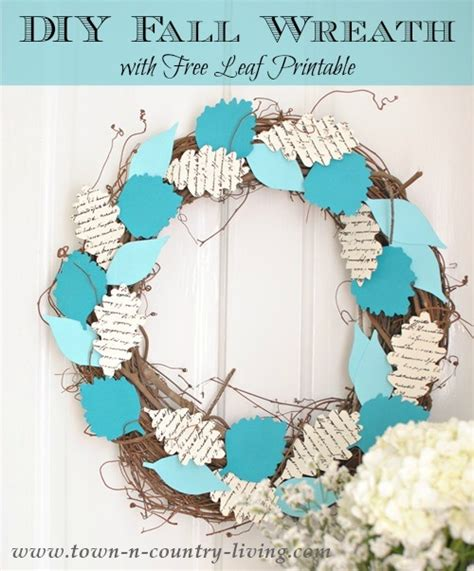 diy fall wreath and free leaf printable town amp country