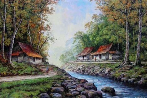 lukisan  gambar pemandangan alam