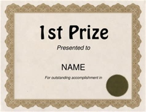 1st prize certificate template free award templates with wording geographics