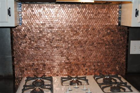 Penny Kitchen Backsplash mom transforms her whole kitchen using old pennies