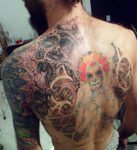 dia de los muertos tattoos for men back images designs