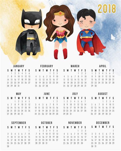 Año 0 Calendario Calendario 2018 De La Liga De La Justicia Para Imprimir