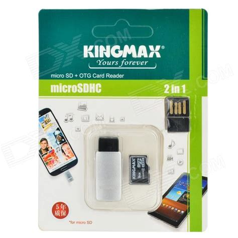 Microsd Kingmax 16gb kingmax 3 in 1 otg micro sd card reader w usb adapter black silver 16gb class 6